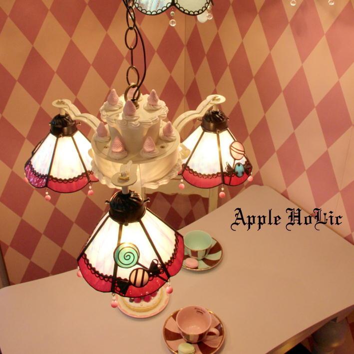 シャンデリア 【Lollypop・ロリポップ】 LED対応 3灯 ペンダントライト キャンディー スイーツ ステンドグラス ランプ
