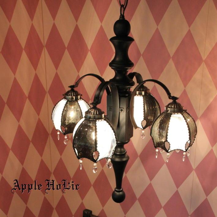 シャンデリア 【Queen・クイーン】 LED対応 チェス 4灯 ステンドグラス ランプ