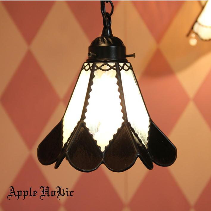 ペンダントライト 【Dezel・デゼル】 LED対応 ハート ステンドグラス ランプ