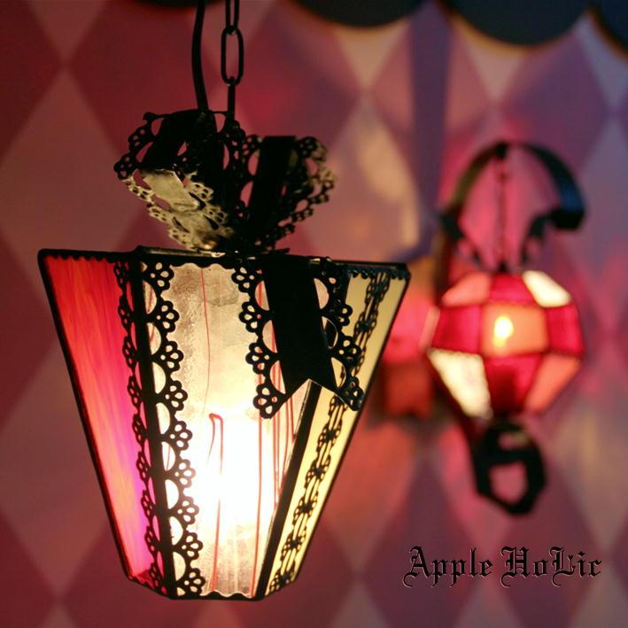 ペンダントライト 【Present Egg・プレゼント エッグ】 LED対応 リボン ステンドグラス ランプ