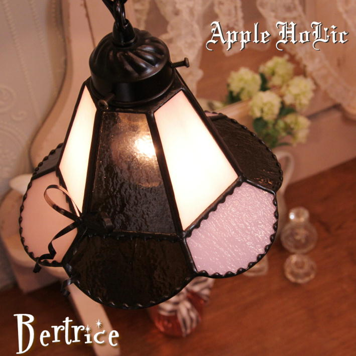 ペンダントライト 【Beatrice・ベアトリーチェ】 LED対応 リボン ステンドグラス ランプ