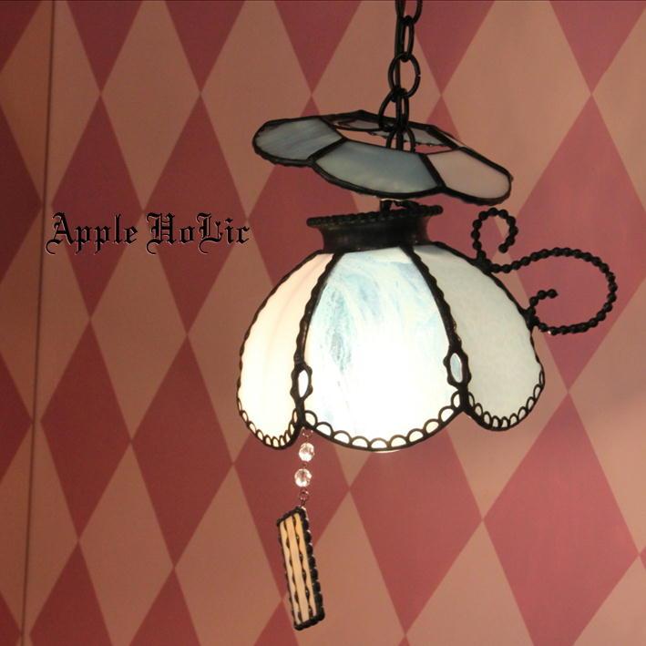 ペンダントライト 【Liddell Blue・リデル ブルー】 LED対応 スイーツ ステンドグラス ランプ