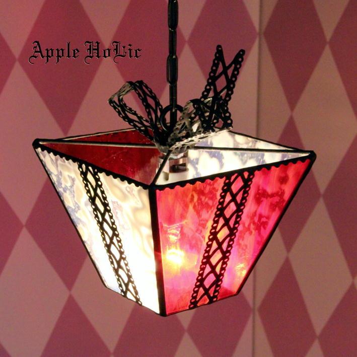 ペンダントライト 【Present Nog・プレゼント ノッグ】 LED対応 リボン ステンドグラス ランプ