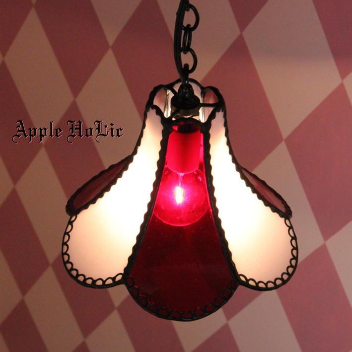 ペンダントライト 【Organetto・オルガネット】 LED対応 ハート ステンドグラス ランプ