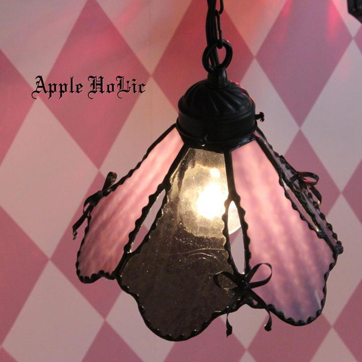 ペンダントライト 【Rosie・ロージー】 LED対応 リボン ステンドグラス ランプ
