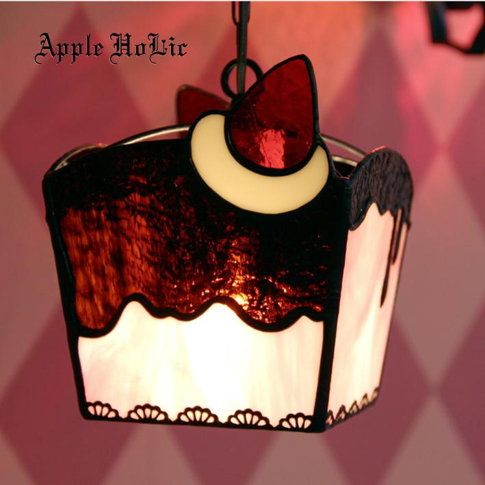 ペンダントライト 【Souffle Strawberry・スフレ ストロベリー】 LED対応 スイーツ ステンドグラス ランプ