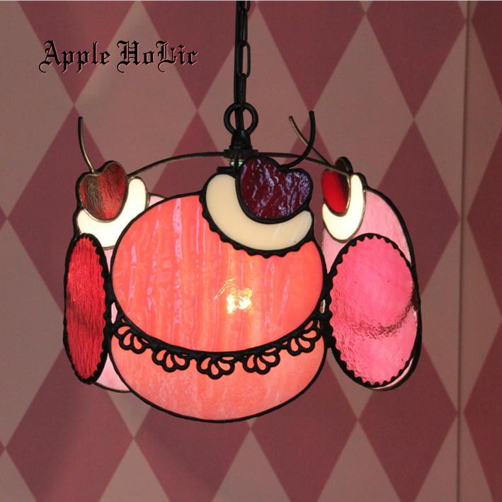 ペンダントライト 【Woopie Pie Cherry・ウーピーパイ・チェリー】 LED対応 スイーツ ステンドグラス ランプ