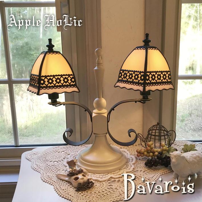 テーブルランプ 【Bavarois・ババロア】 LED対応 フラワー 置き型照明 ステンドグラス ランプ