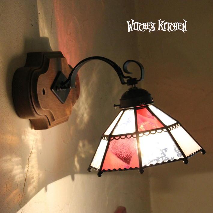 ブラケットライト【Agathe・アガーテ】LED対応 ピンク 壁掛け照明 ステンドグラス ランプ