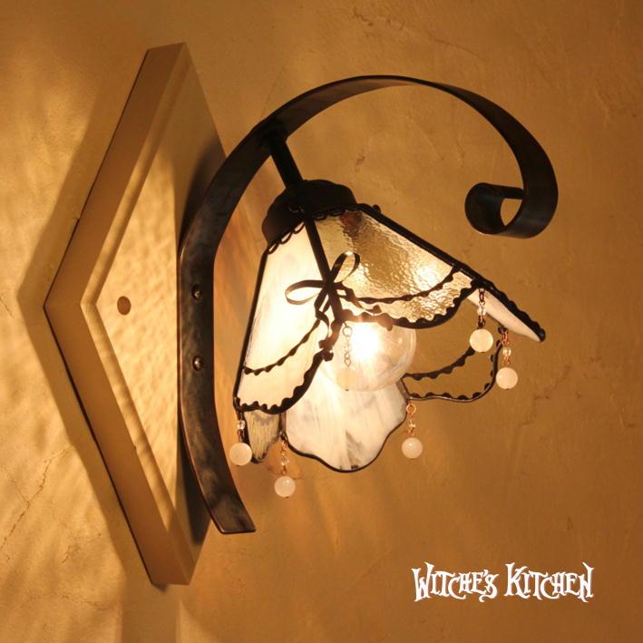 壁掛け照明 ブラケットライト【Honey・ハニー】LED対応 レース リボン 壁掛け照明 ステンドグラス ランプ