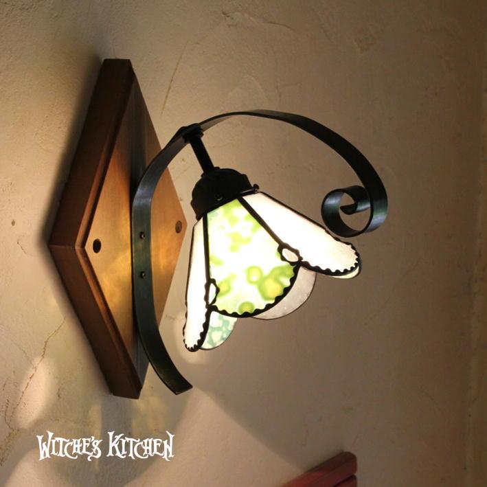 ブラケットライト 【Gimlet・ギムレット】 LED対応 グリーン 壁掛け照明 ステンドグラス ランプ