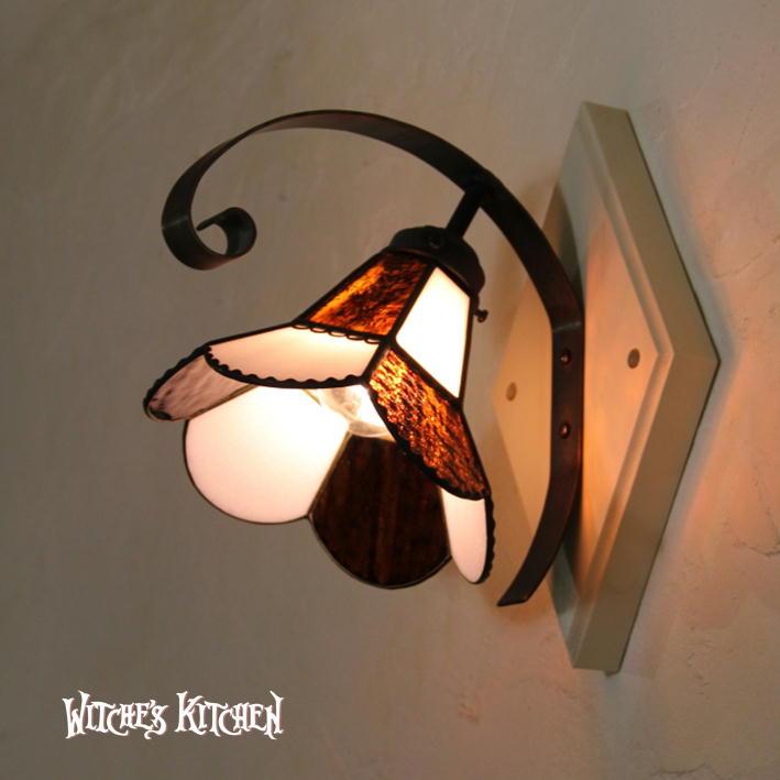 ブラケットライト 【Vivian Pink・ヴィヴィアン ピンク】 LED対応 フラワー 壁掛け照明 ステンドグラス ランプ
