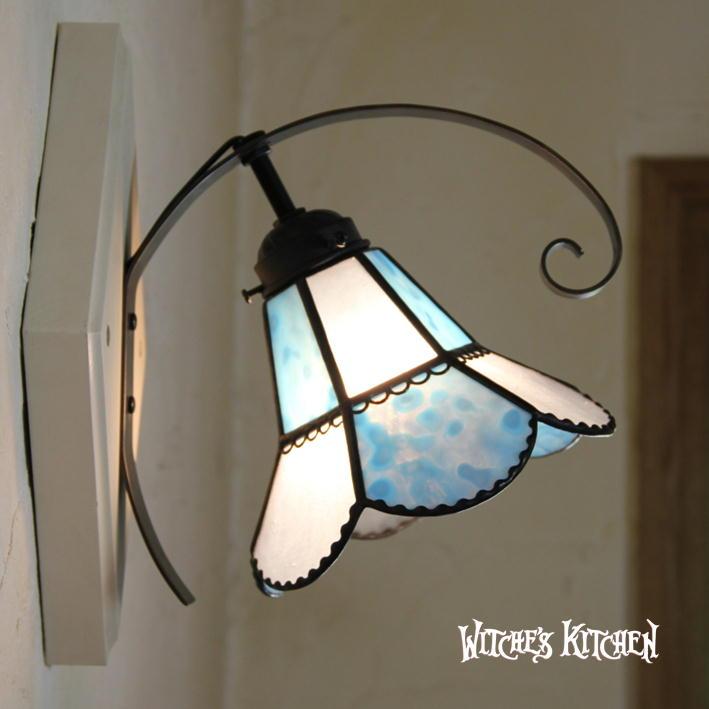 ブラケットライト 【Vivian Blue・ヴィヴィアン ブルー】 LED対応 フラワー 壁掛け照明 ステンドグラス ランプ