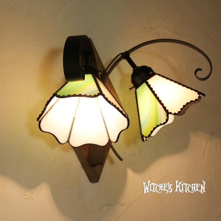 ブラケットライト ブラケット 照明【Couleur・コローレW】 LED対応 グリーン 壁掛け照明 2灯 ステンドグラス ランプ