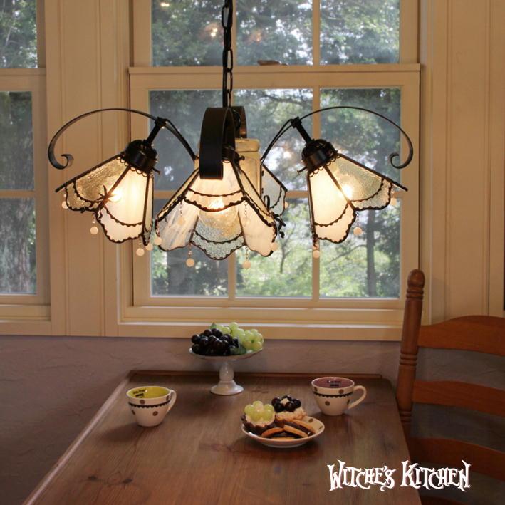 シャンデリア ガラス【Honey・ハニー】LED対応 レース リボン 4灯 ステンドグラス ランプ | かわいい おしゃれ 天井照明 ペンダントライト シャンデリア ガラス