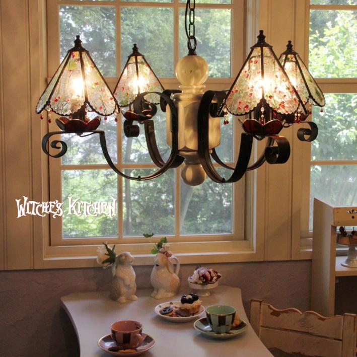 シャンデリア 【Benedictine・ベネディクティン】 LED対応 4灯 ステンドグラス ランプ