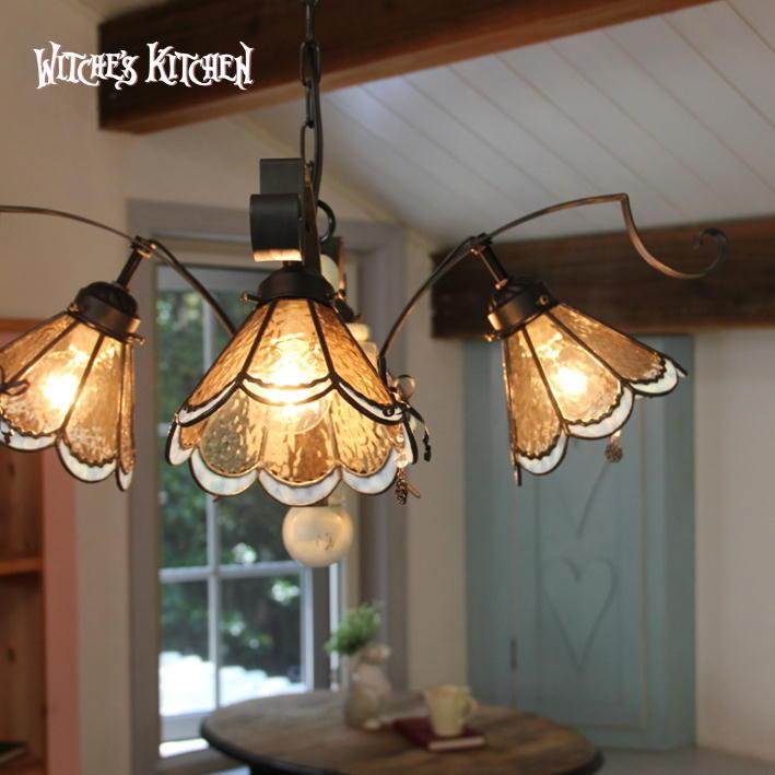 シャンデリア 【Rosalie・ロザリー】 LED対応 リボン 4灯 ステンドグラス ランプ