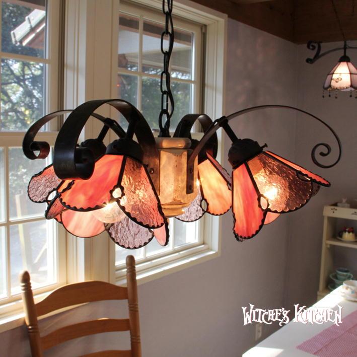 ペンダントライト ステンドグラス シャンデリア【Claret Kiss・クラレットキス】 LED対応 ロマンチック 4灯 ステンドグラス ランプ