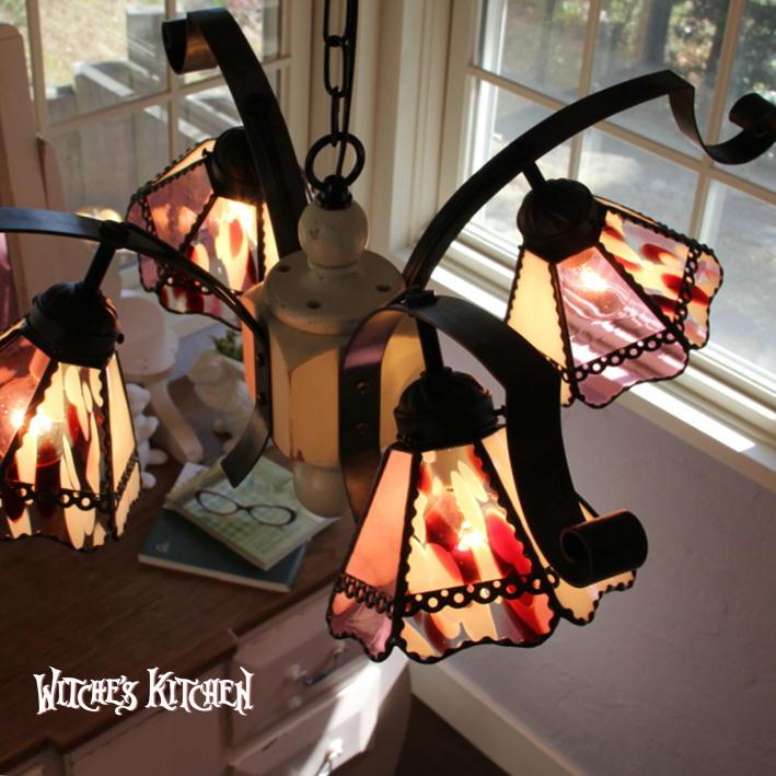 シャンデリア 【Love Potion・ラブポーション】 LED対応 ロマンチック ハート 4灯 ペンダントライト ステンドグラス ランプ
