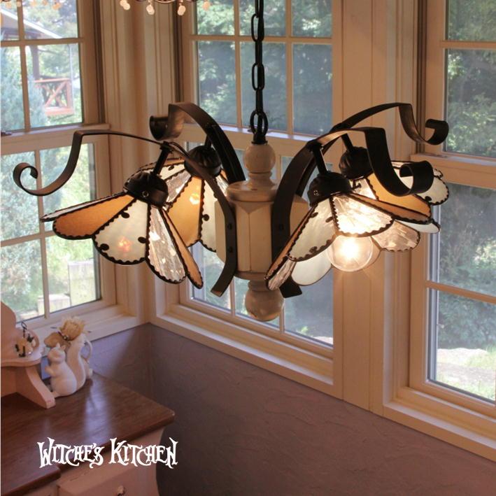 シャンデリア 【Cloudy・クラウディー】 LED対応 水玉 4灯 ペンダントライト ステンドグラス ランプ