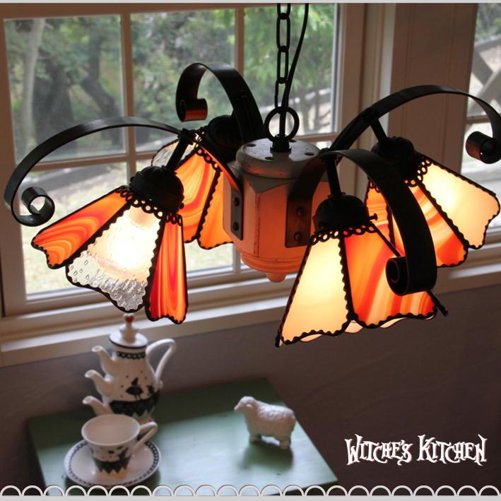 シャンデリア 【Toadstool・ トードストゥール】 LED対応 キノコ 4灯 ステンドグラス ランプ