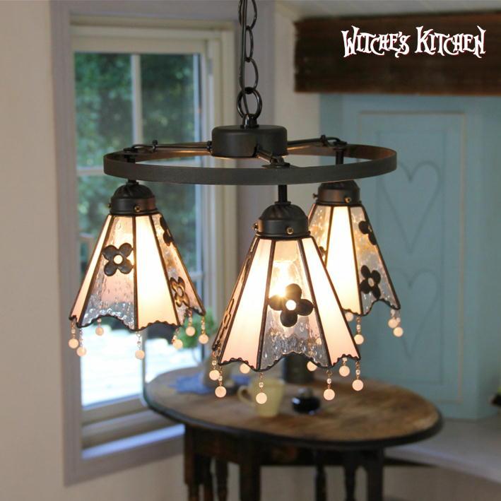 シャンデリア 【Lilac・ライラック】 LED対応 フラワー 3灯 ステンドグラス ランプ