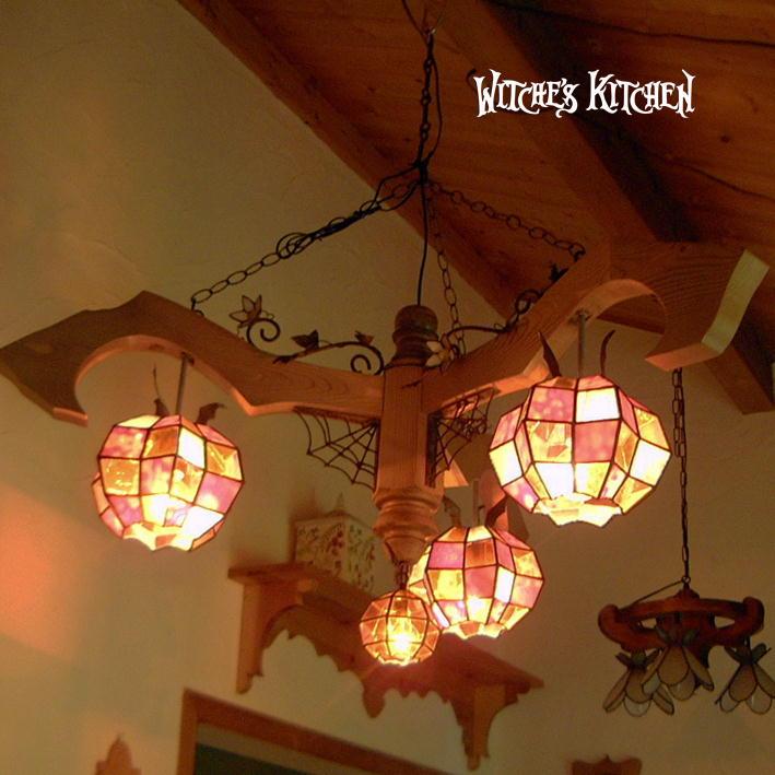 シャンデリア 【This Is Halloween・ハロウィン】 LED対応 ランタン パンプキン 4灯 ステンドグラス ランプ