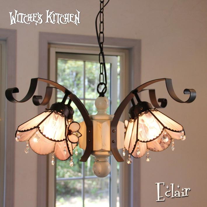 シャンデリア LED 【Eclair・エクレール】 LED対応 フラワー 4灯 ペンダントライト ステンドグラス ランプ シャンデリア