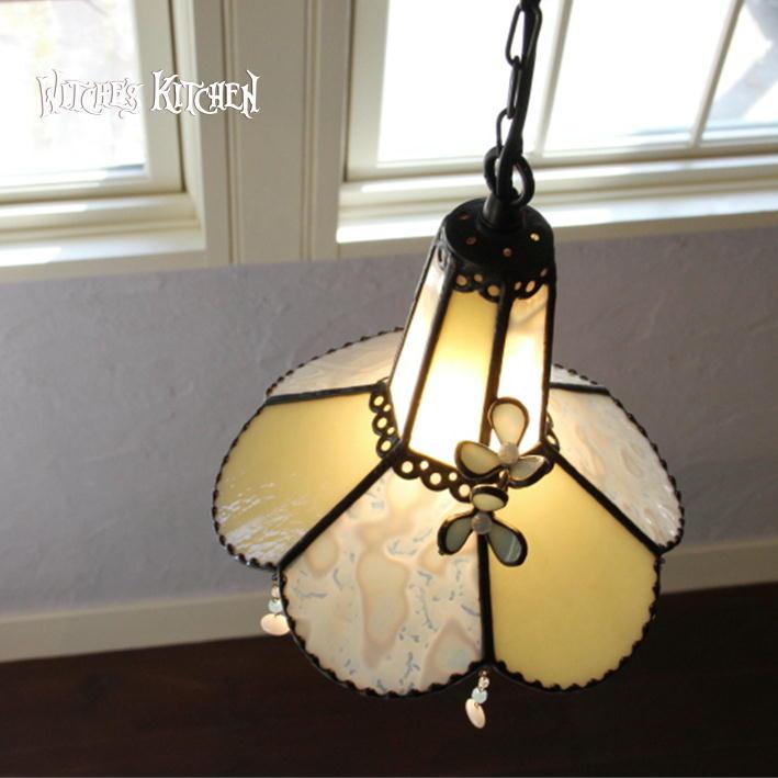 ペンダントライト 【Fromage Blanc・フロマージュブラン】 LED対応 フラワー ステンドグラス ランプ