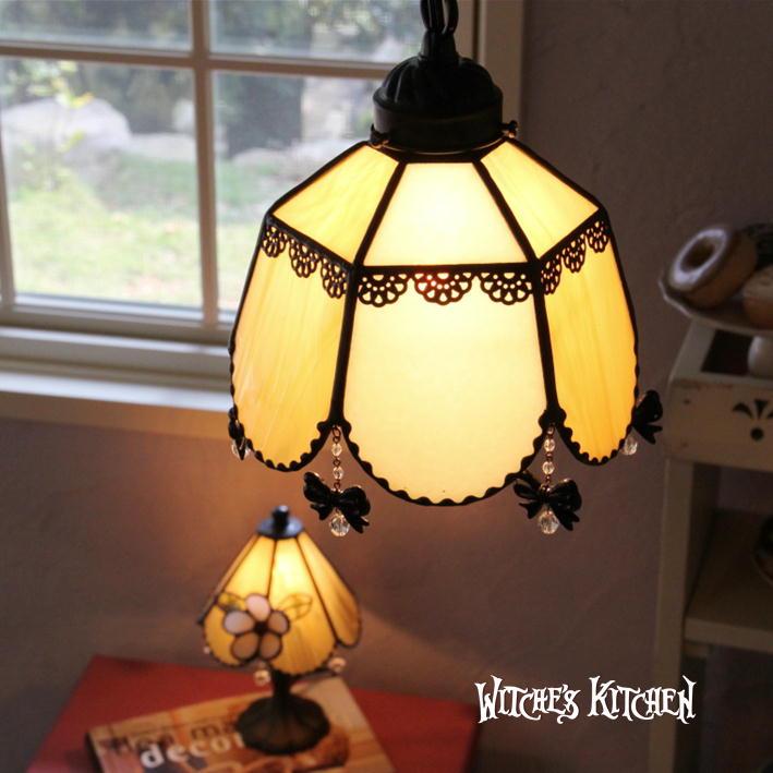 ペンダントライト 【Desiree ・デジレ】 LED対応 リボン レース ステンドグラス ランプ