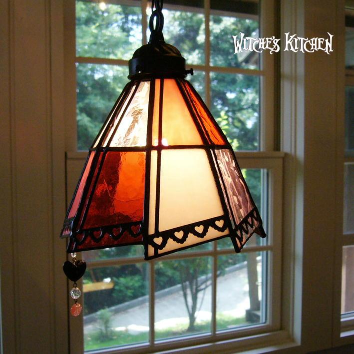 ペンダントライト 【Jack of Heart・ハートのジャック】 LED対応 ハート 不思議の国のアリス ステンドグラス ランプ