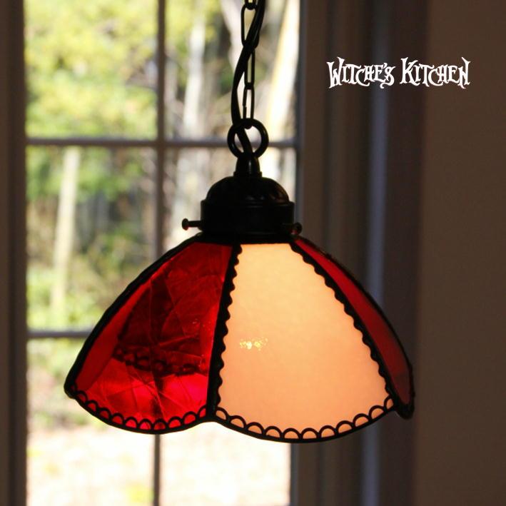 ペンダントライト 【Ginger RED・ジンジャー レッド】 LED対応 フラワー ステンドグラス ランプ