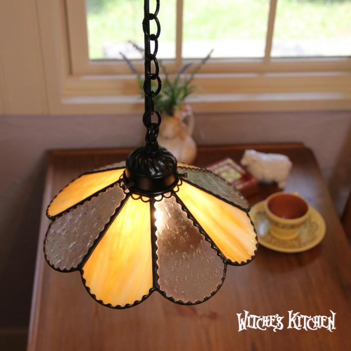 ペンダントライト 【Flora 黄・フローラ イエロー】 LED対応 フラワー ステンドグラス ランプ