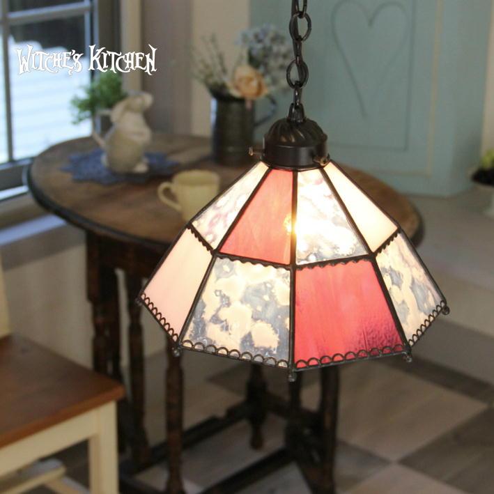 ペンダントライト 【Agathe・アガーテ】 LED対応 ピンク ステンドグラス ランプ