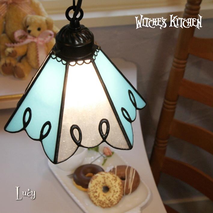 ペンダントライト 【Lucy・ルーシー】 LED対応 ブルー クラシック ステンドグラス ランプ