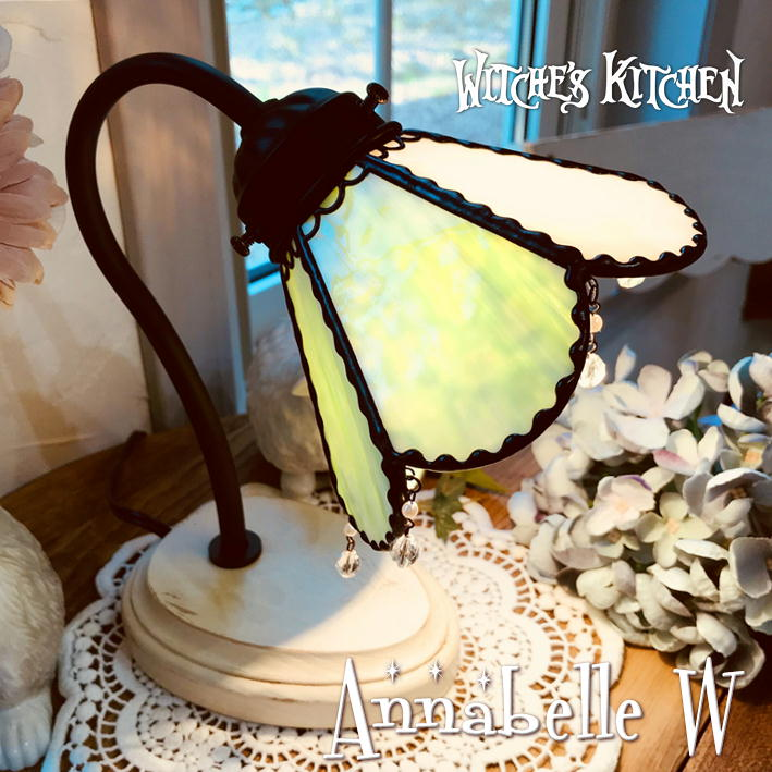 グースネックランプ 【Annabelle・アナベル/ミルクペイント】 LED対応 フラワー 置き型照明 ステンドグラス ランプ