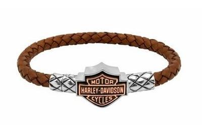 Harley Davidson Bracelet ウエーブン Brown Leather Men S Copper Bar Shield Stock Genuine