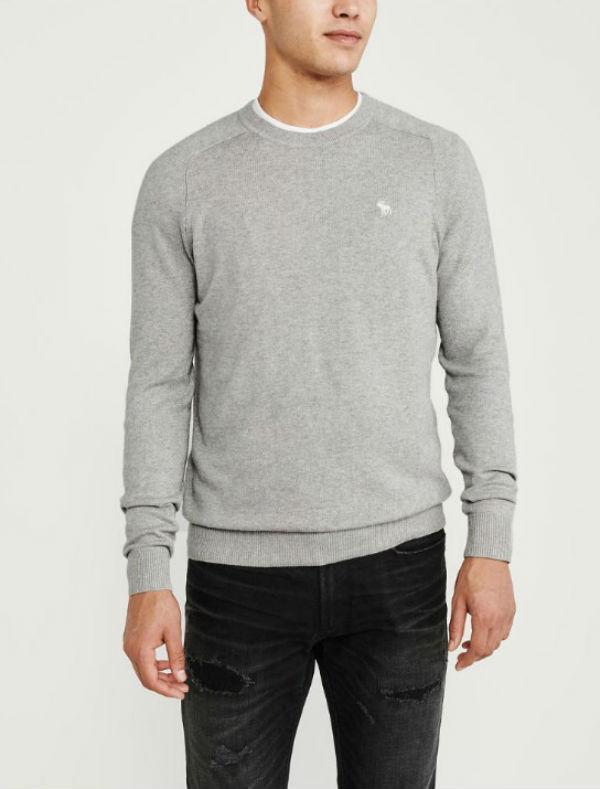 アバクロ メンズ セーターIcon Cotton Cashmere Crewneck Sweater グレイAbercrombie&Fitch アバクロンビー&フィッチ新作 本物 正規品 アメリカ買付 USA直輸入
