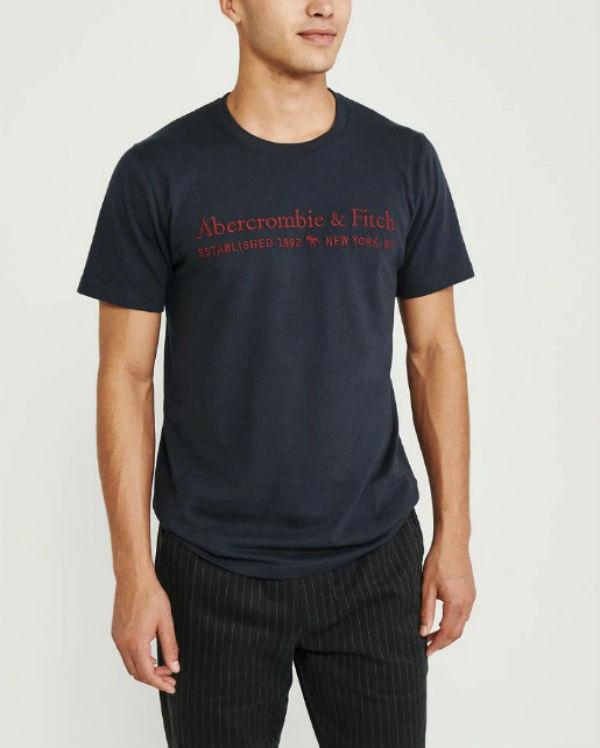 アバクロ メンズ Tシャツ Short-Sleeve Applique Logo Tee ネイビーブルーAbercrombie&Fitch アバクロンビー&フィッチ新作 本物 正規品 アメリカ買付 USA直輸入