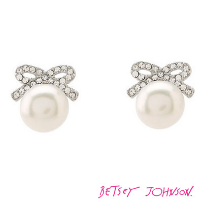 Betsey Johnson Jewelry Crystal Bow Pearl Earring Silver Earrings Genuine An United States Purchase Usa