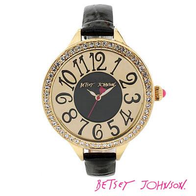 ベッツィージョンソン Betsey Johnson 腕時計 ROUND FACE SKINNY BAND WATCH(Black)BJ00387-02クリスタル フェイス ブラック ウォッチ 腕時計(ブラック)時計 ウォッチ 新作 正規品 日本未入荷 USA直輸入 通販