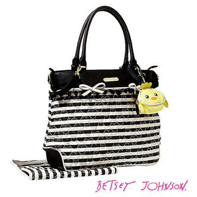 Betsey Johnson Bag Quilted Heart Diaper Tote Black White Many Killed Light Weight High Capacity Pocket Brand