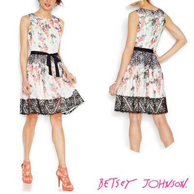 6deab3d93992 Betsey Johnson Betsey Johnson dress Floral Print Lace Trim Dress (White) or  ornate floral ...