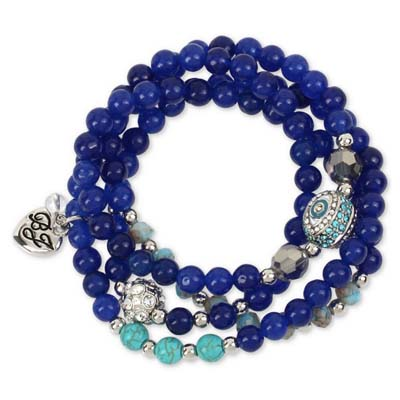 ベッツィージョンソン Betsey Johnson ブレスレットSilver-Tone Blue Beaded Pavé Fireball and Evil-Eye Wrap Stretch Bracelet ブレスレット(エビルアイ)