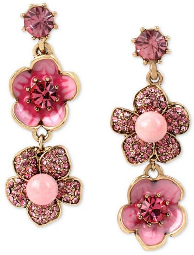 ベッツィージョンソン Betsey Johnson ピアスRose Gold-Tone Glittery Flower Mismatch Drop Earrings(フラワー) 花