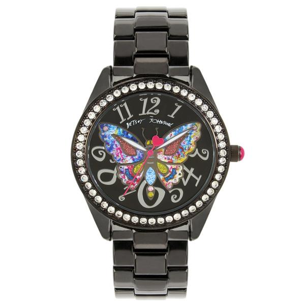 ベッツィージョンソン 腕時計 Betsey Johnson Multi-Colored Butterfly Motif Dial Black Watch (Black) マルチカラー バタフライ ウォッチ 時計 (ブラック) 新作 正規品 日本未入荷 アメリカ買付 海外通販 レディース アクセサリー