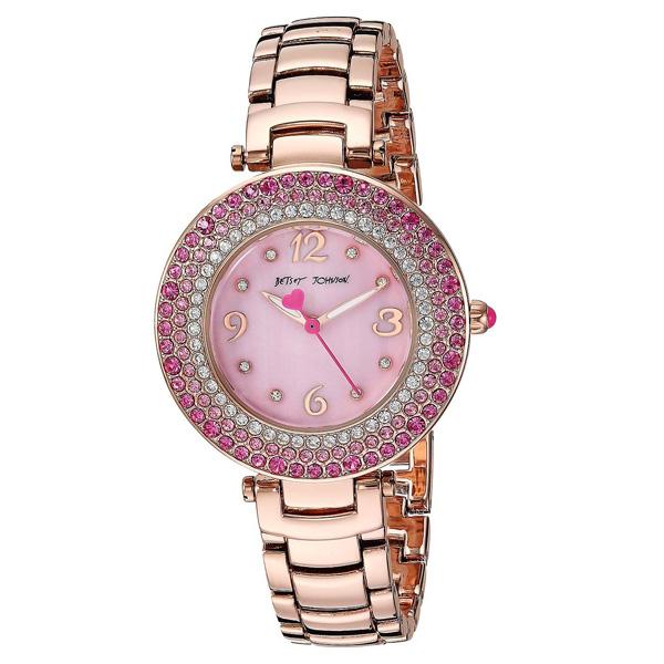 ベッツィージョンソン 腕時計 Betsey Johnson BJ00699-01CRYSTAL RINGS ROSE GOLD WATCH (Rose Gold) クリスタル リング ウォッチ 時計 (ローズゴールド) Pink Stone Bezel Rose Gold Watch 新作 正規品 日本未入荷 アメリカ買付 海外通販 レディース アクセサリー