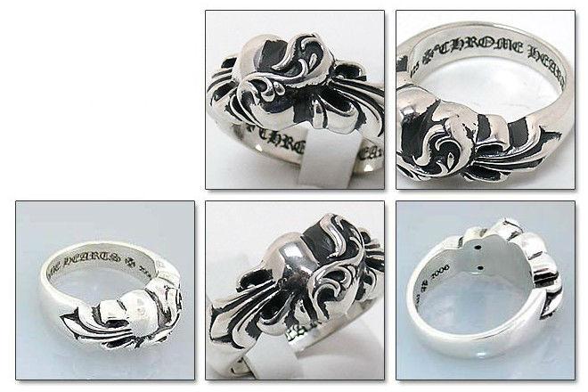 クロムハーツ Chrome Hearts リングフローラルクロスハートリング  Floral Cross Heart Ring本物 正規品 アメリカ買付 USA直輸入
