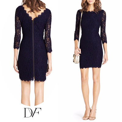 Diane Von Furstenberg Dvf Dress Lace Zarita Midnight Gown Navy New Party Brand Vamp Fashion