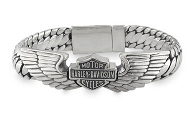 Harley Davidson Bracelets Men S Silver Wing Bar Shield Bracelet Winged B Mens Stock Genuine